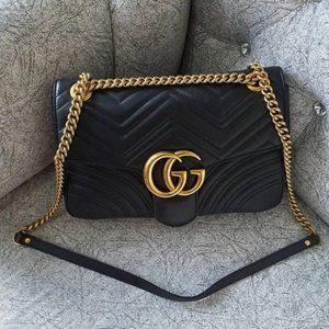 🍓🍓Gu cci🍓 GG Marmont Matelassé Mini Black Crossody Bag